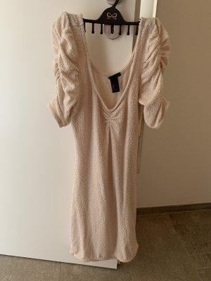 Glitter Kleid beige Creme