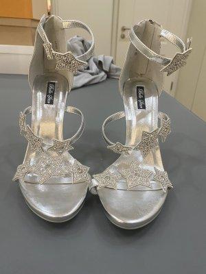 Glitter Sandalette Gr 40 Silber neu