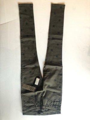 Glitz&Glam Jeans Sterne NEU Khaki W 28 Größe 36/38 NP 120