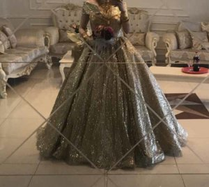 Glitzer Abendkleid in gold