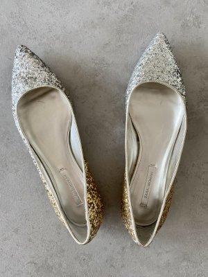 Zara Ballerina's met kant zilver-goud Oranje