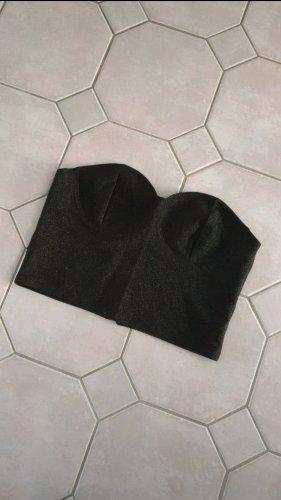 H&M Top z dekoltem typu bandeau czarny-srebrny