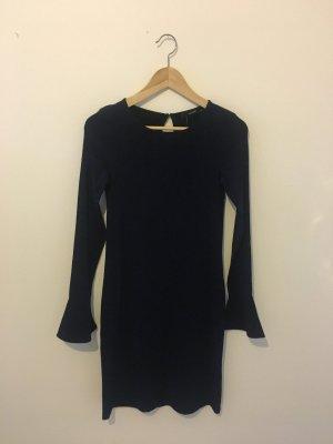 Glitzer blau schwarz Langarm hallhuber figurbetont Stretch Mini Kleid schlupfkleid elastisch xs extra small 34 neu mit Etiketten Neupreis 69,95€