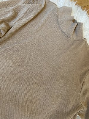 Top con colletto arrotolato beige-color cammello