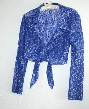 Vintage Camicetta aderente blu-argento Poliestere