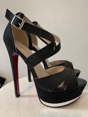Plateauzool Sandalen met Hoge Hakken zwart-magenta