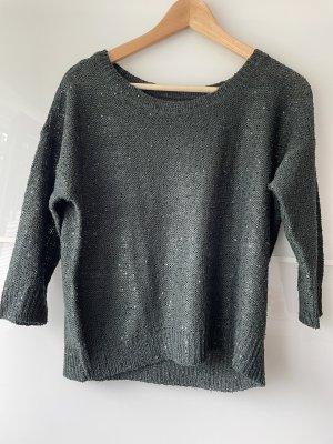 Szydełkowany sweter ciemnozielony