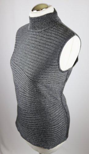 Top con colletto arrotolato argento-antracite