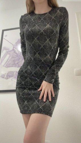 Glitzer Paletten Kleid in Schwarz Silber
