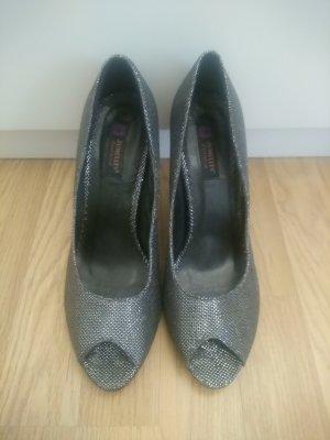 Jumex Peep Toe Pumps black-silver-colored