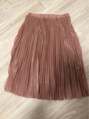 H&M Plisowana spódnica w kolorze różowego złota
