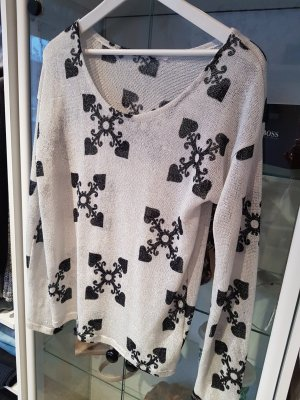 H&M Jersey de ganchillo blanco-negro