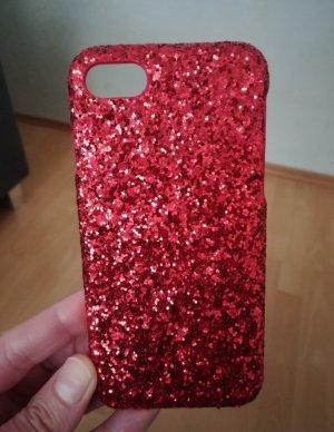 Glitzer Rot Handy Hülle iPhone 7