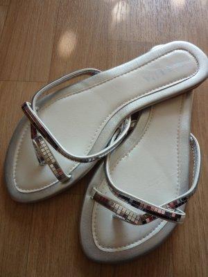 Glitzer Sandale Silber Flip Flops diskokugel 38