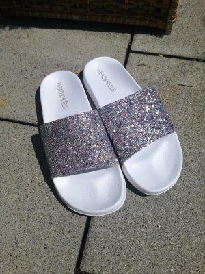 Head over heels Scuffs white-silver-colored