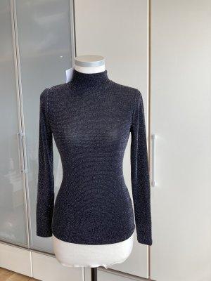 C&A Yessica Camisa de cuello de tortuga negro-color plata
