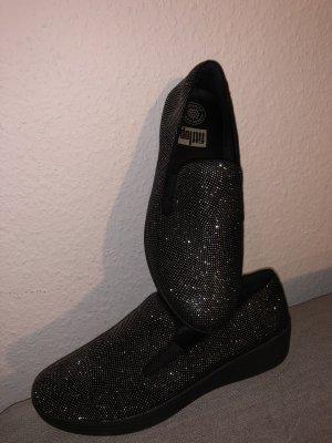 Fitflop Instappers zwart-zilver Leer