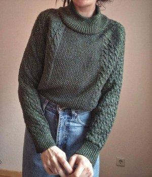 True Vintage Jersey de punto grueso verde oscuro
