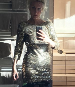 TFNC Sequin Dress gold-colored