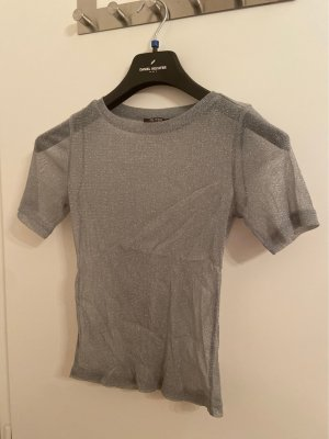 Zara Trafaluc Mesh Shirt silver-colored-grey