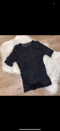 Zara T-Shirt black-silver-colored