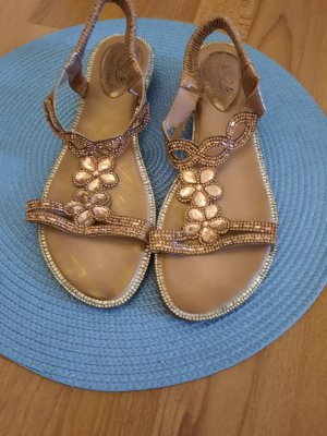 aus Italy Strapped High-Heeled Sandals gold-colored