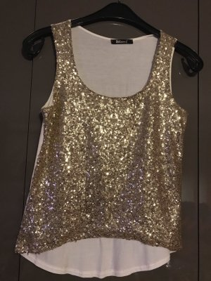 no name Blusa brillante blanco puro-color oro