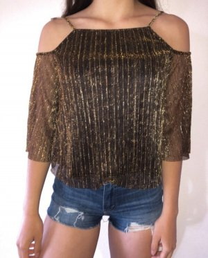 Mango Top cut out ocre-color oro