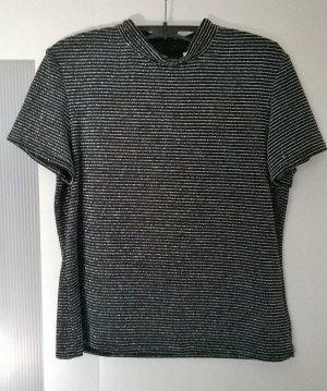 C&A Blouse à col montant noir-argenté nylon