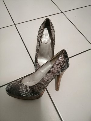 Glizernde Plateau Pumps in Animal Print