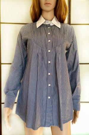 Avanti Shirt met lange mouwen wit-staalblauw Katoen