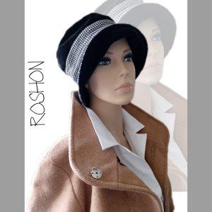Chapeau cloche blanc-noir