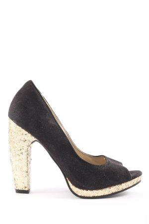Glööckler High Heel Sandaletten schwarz-goldfarben Elegant