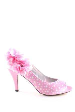 Glööckler Peeptoe Pumps pink-weiß Punktemuster Casual-Look