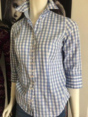 Gloriette edel Bluse made in Austria kariert hellblau weiß tailliert 34 über 100 npr