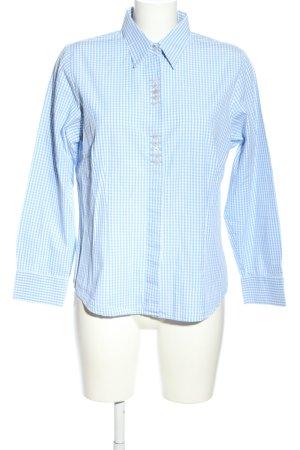 Gloriette Vienna Langarm-Bluse blau-weiß Karomuster Casual-Look