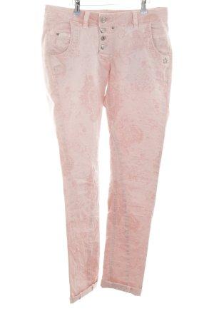 Glücksstern Röhrenjeans pink Motivdruck Casual-Look