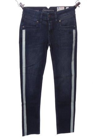 Glücksstern Skinny Jeans blau Streifenmuster Casual-Look