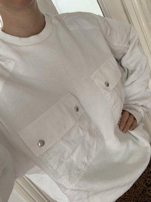 GmbH Sweater Pullover L mit aufgesetzten Taschen in Weiß Reißverschlüsse an den Armen