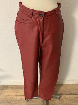 GO IN Pantalon en cuir rouge foncé-rouge carmin