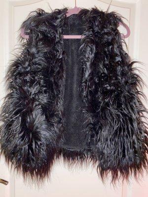 100% Fashion Gilet en fausse fourrure noir