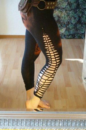 Handmade Leggings negro-bermejo