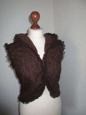 Capuchon vest zwart bruin
