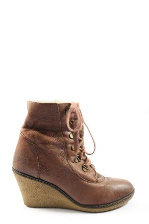 Görtz Shoes Laarsjes met sleehak bruin casual uitstraling