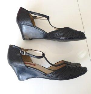 görtz shoes Leder Peeptoe Pumps Peep Toes Wedges schwarz 37 Keilabsatz