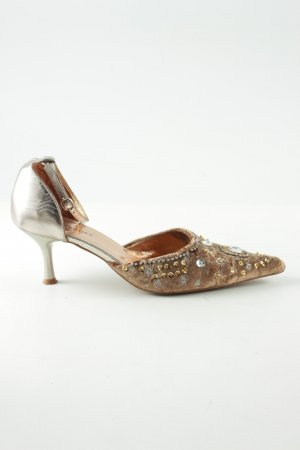 Görtz Shoes Spitz-Pumps silberfarben-wollweiß extravaganter Stil