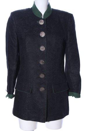 gössl Folkloristische jas blauw-khaki gestippeld zakelijke stijl