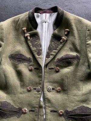 gössl Tradycyjna kurtka oliwkowy-szaro-brązowy Len