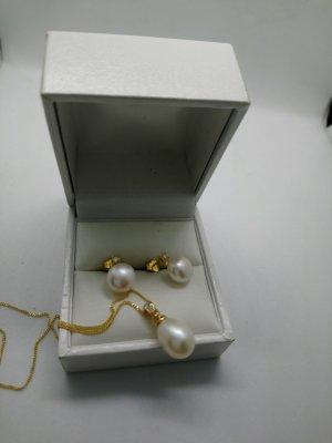 Gold 585 set mit Perlen und Diamant