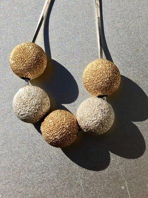 Gold 925 Silber Designer Collier Necklace  Silber Kugeln Halskette Kette Perlen
